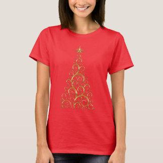 Festlig krusidullguldjulgran tee shirts