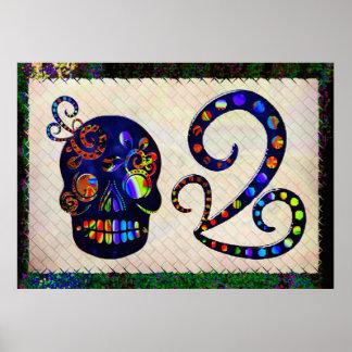 Festlig mexicansk skalle 3D Poster