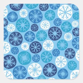 Festlig snöflingor fyrkantigt klistermärke