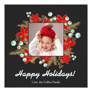 Festliga och eleganta röda julstjärnor Photocard Fyrkantigt 13,3 Cm Inbjudningskort