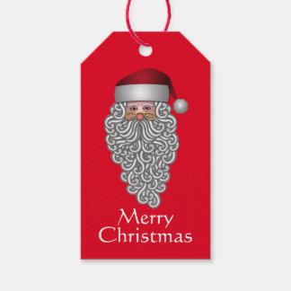 Festliga Santa i lockigt skägg Pack Av Presentetiketter