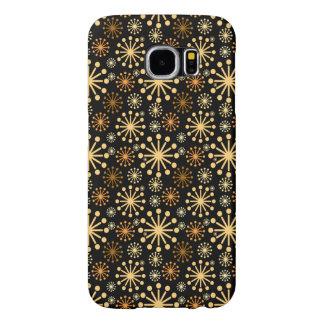 Festligt guld- och silversnöflingormönster samsung galaxy s6 fodral