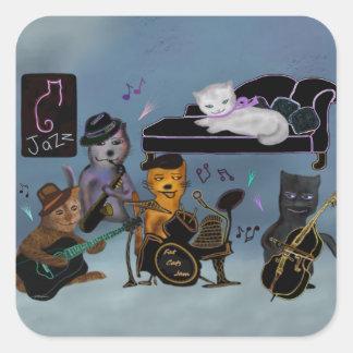 Fet kattsylt fyrkantigt klistermärke