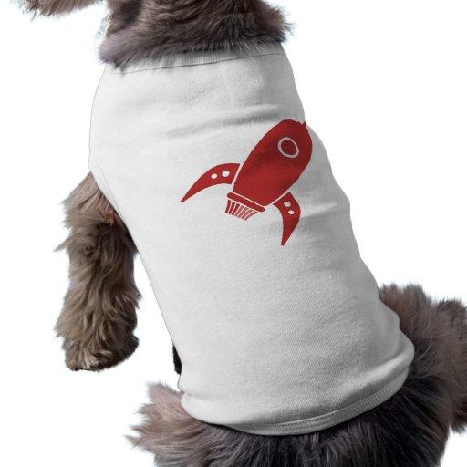 Fet Retro röd raketfrakt Hund T-shirt