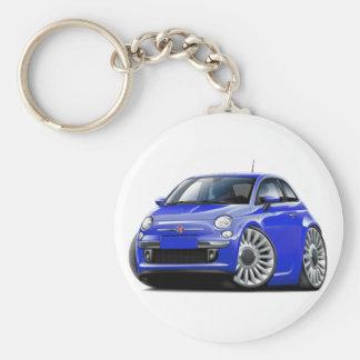 Fiat 500 blåttbil rund nyckelring
