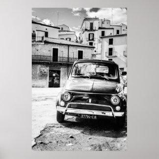 Fiat 500, cinquecento i italien, klassikerbilgåva poster