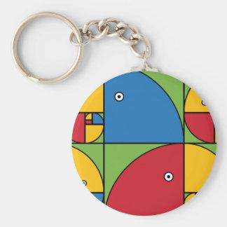 Fibonacci papegojor rund nyckelring