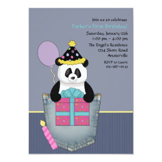 Fick- pandas gåva - födelsedagsfest inbjudan