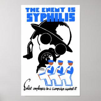 Fienden är Syphilis - WPA Poster