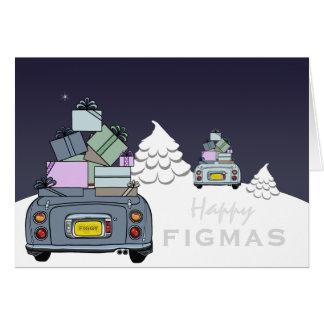 Figaro lyckligt Figmas för blek Aqua för Lapis grå Hälsningskort