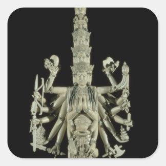Figur av den hinduiska gudinnan Kali Fyrkantigt Klistermärke