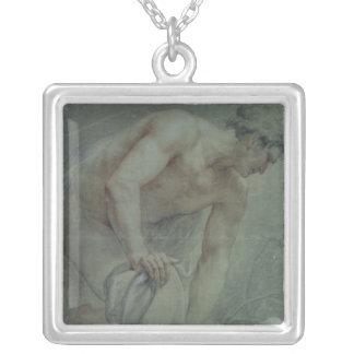 Figur av en krigare som draperas delvis, 18th århu silverpläterat halsband