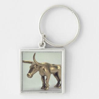 Figur av en tjur fyrkantig silverfärgad nyckelring