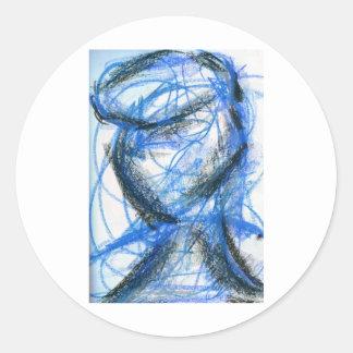 Figur i svart och blått runt klistermärke