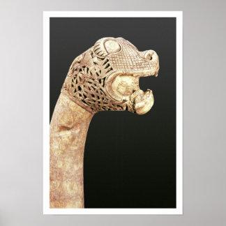 Figureheaden av en Viking Longship, grundar på Ose Poster