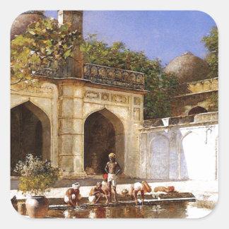 Figurer i borggården av en moské av den Edwin Fyrkantigt Klistermärke