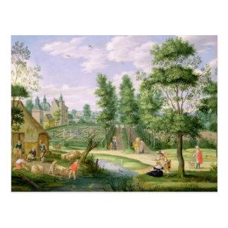 Figurer i jordningen av ett landhus vykort