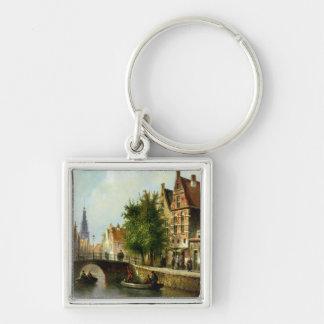 Figurer på en kanal, Amsterdam (olja på panel) Fyrkantig Silverfärgad Nyckelring