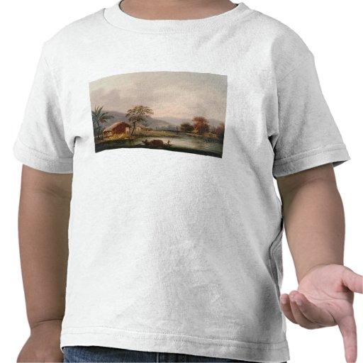 Figurer som vägleder en Sampan, rundar en krökning T-shirts