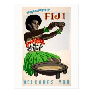 Fiji återställde vintage resoraffischen vykort