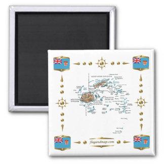 Fijiansk karta + Flaggormagnet Magnet