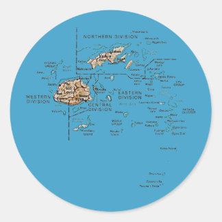 Fijiansk kartaklistermärke runt klistermärke