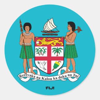 Fijiansk vapensköldrundaklistermärke runt klistermärke
