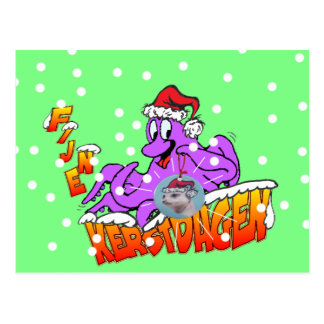 Fijne Kerstdagen Octopus Briefkaart Vykort