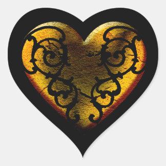 Filigree Goth guldhjärta Hjärtformat Klistermärke