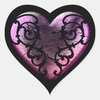 Filigree Goth rosahjärta Hjärtformat Klistermärke