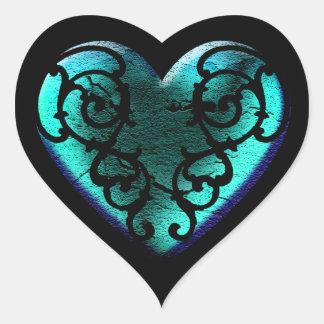 Filigree hjärta för Goth isblått Hjärtformat Klistermärke