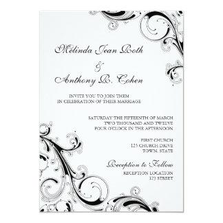 Filigree virvla runt svart bröllop för w/White 5x7 12,7 X 17,8 Cm Inbjudningskort
