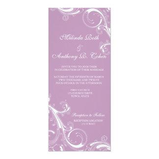 Filigree virvla runt violeten 10,2 x 23,5 cm inbjudningskort
