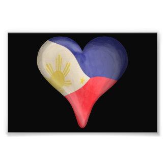 Filippinsk flagga i en hjärta fotografiska tryck