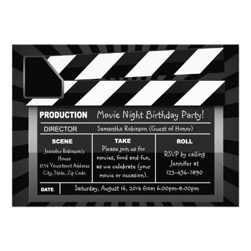 Filmapplåden stiger ombord beställnings- partyinbj anpassade inbjudningskort