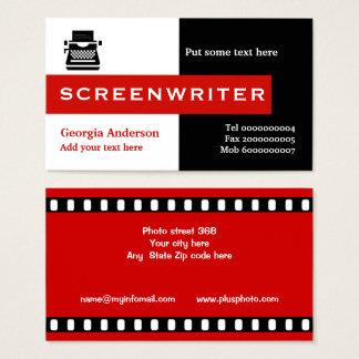 Filmförfattaresvart, vit, rött slå visitkort