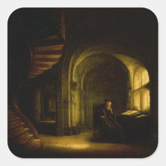 Filosof med en öppen bok, 1625-7 (olja förser med fyrkantigt klistermärke