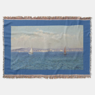 Filt för kast för blått för seglinghavskonst