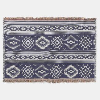 Filt för kast för mönster för blåttvit Aztec