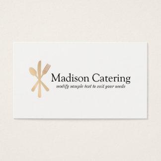 Fin äta middag cateringlogotyp för guld- bestick visitkort