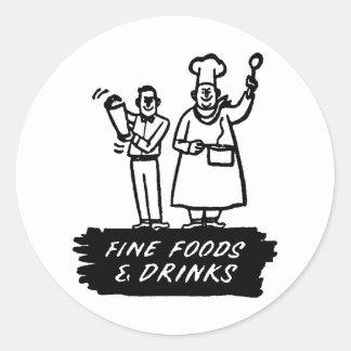 Fina matar och drink runt klistermärke