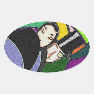 Finare för abstrakt för klistermärkevintageart ovalt klistermärke