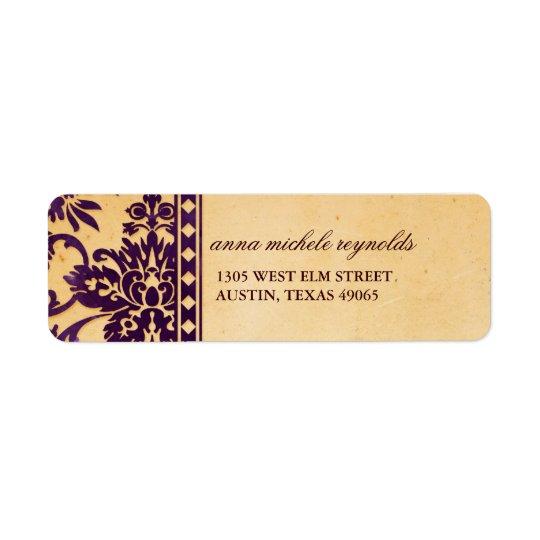 Finare för snöre för vintageAubergine damastast Returadress Etikett