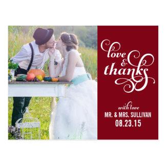 Finare skrivar brölloptackvykort röd | vykort