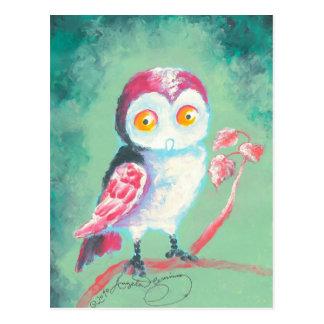 Finger målad ugglakonst vykort