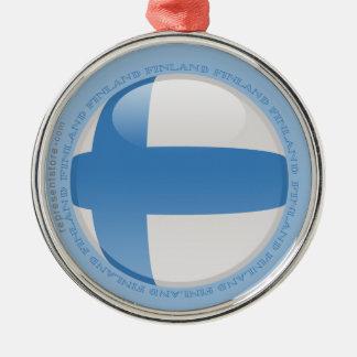 Finland bubblar flagga rund silverfärgad julgransprydnad