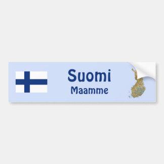 Finland flagga + Kartabildekal Bildekal