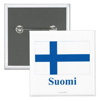 Finland flagga med namn i finska standard kanpp fyrkantig 5.1 cm