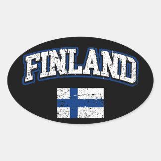 Finland flagga ovalt klistermärke