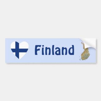 Finland flaggahjärta + Kartabildekal Bildekal